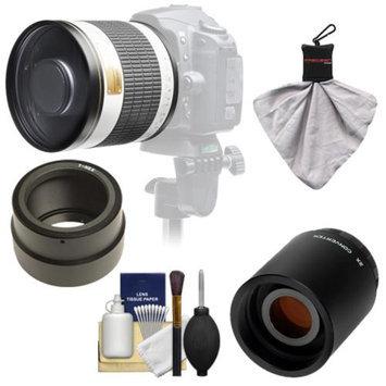 Samyang 500mm f/6.3 Mirror Lens (White) with 2x Teleconverter (=1000mm) for Sony Alpha NEX-C3, NEX-F3, NEX-5, NEX-5N, NEX-7 Digital Cameras