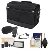 Nikon DSLR Camera/Tablet Messenger Shoulder Bag with LED Video Light + Microphone Kit for D3200, D3300, D5200, D5300, D7100, D610, D750, D810, Df, D4S
