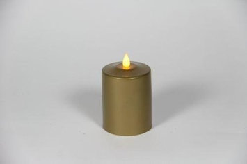 Delighted Home MC-M4G Hand-Waxed Battery-Operated 4 in. Gold MC Pillar Candle
