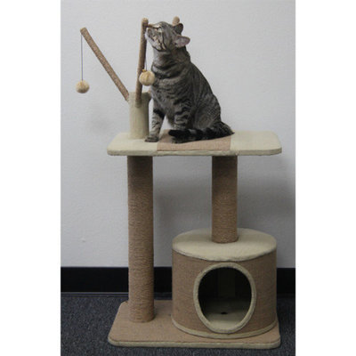 Pet Pal PetPals Recycled Paper Rope Cat Perch with Teasers and Condo