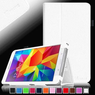 Fintie Folio Premium Vegan Leather Case Cover for Samsung Tab 4 8.0 8-Inch Tablet, White