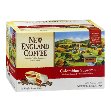 New England Coffee Colombian Supremo Single Serve Cups - 12 CT