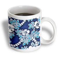 Recaro North 3dRose - Flowers - Hibiscus Flower On Blue - 15 oz mug