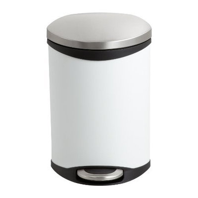Safco Products Ellipse Step-On Waste Receptacle, 3 Gallon, White, 9901WH