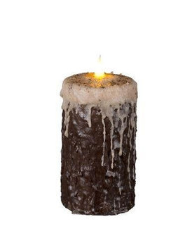 Delighted Home MC-W6LC Hand-Waxed Battery-Operated 6 in. Log Cabin MC Pillar Candle