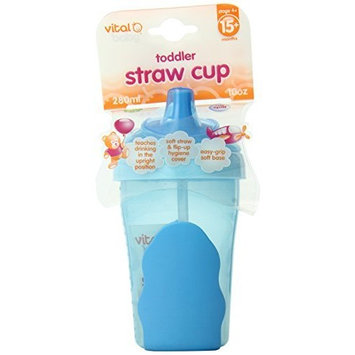 Vital Baby Toddler Straw Cup, Blue, 10 Ounce