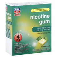 RITE AID Nicotine Polacrilex Gum 100 pcs, 4 mg each ~ Coated Mint ~ Stop Smoking Aid