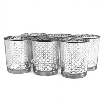 Koyal Wholesale Lattice Glass Votive Cup (Set of 6), Silver, 2.5 H x 2 W x 2 D