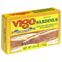 Vigo Sardines Skinless and Boneless in Soybean Oil, 4.375-Ounce Cans (Pack of 10)