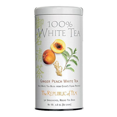 The Republic Of Tea Ginger Peach 100% White Tea, 50 Tea Bags