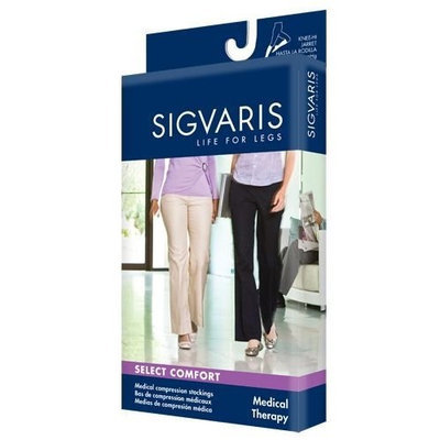 Sigvaris 860 Select Comfort Series 30-40 mmHg Women's Closed Toe Thigh High Sock Size: M3, Color: Black 99