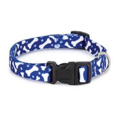 Casual Canine Nylon Pooch Pattern Dog Collar, 10 to 16-Inch, Blue Bone