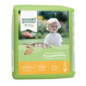 Seventh Generation Free & Clear Baby Diapers, Value Pack, Size 5 (27+ lbs), 115 ea