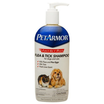 PetArmor Fastact Plus Flea & Tick Shampoo For Dogs & Cats, 12 oz