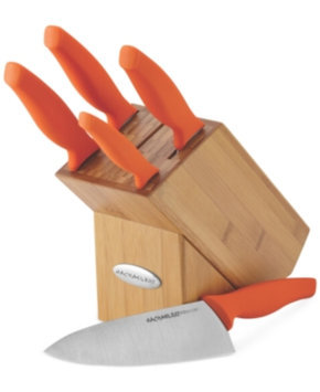 Rachael Ray Cutlery 6-Piece Japanese Stainless Steel Knife Block Set