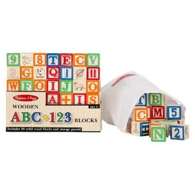 Melissa & Doug Deluxe 50-piece Wooden ABC/123 Blocks Set