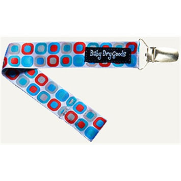 Baby Dry Goods 03019 BlueRedWhite Squares Pacifier Clip