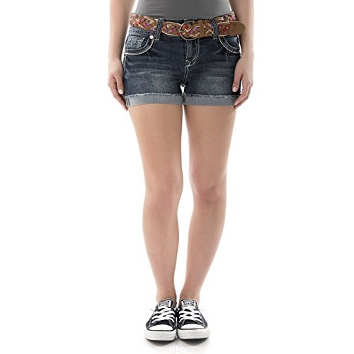 WallFlower-Jeans WallFlower Juniors Luscious Curvy Belted Bling Denim Short Shorts []