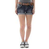 WallFlower-Jeans WallFlower Juniors Luscious Curvy Belted Bling Denim Short Shorts []