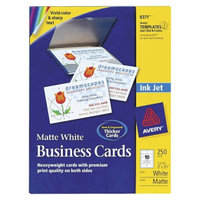 Avery 2 x 3-1/2 Inkjet Two Side Printable Business Cards - White (250