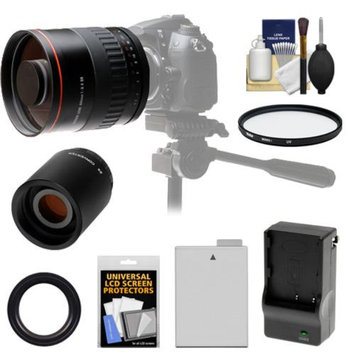 Vivitar 800mm f/8 Mirror Lens with 2x Teleconverter (=1600mm) + LP-E8 Battery & Charger + Filter + Accessory Kit for Canon Rebel T3i, T4i, T5i DSLR Cameras