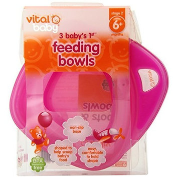 Vital Baby Baby's 1st Feeding Bowls, Pink, 3 Pack