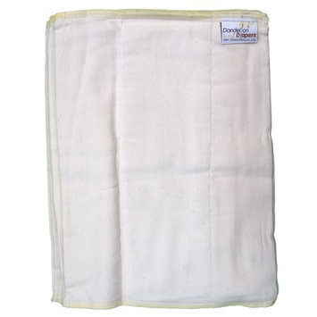 Dandelion Diapers 100% Organic Cotton Prefold Diapers - Set of 3 Prefolds - Size 2 - 12 x 16