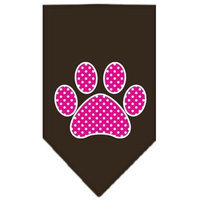 Ahi Pink Swiss Dot Paw Screen Print Bandana Cocoa Large