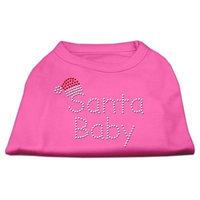 Mirage Pet Products 522510 LGBPK Santa Baby Rhinestone Shirts Bright Pink L 14