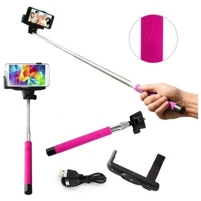 DrHotDeal Selfie Stick Pro Mono pad with Built-in Bluetooth remote on Handle Shutter Extendable Handheld for GoPro IOS Apple Android Samsung Iphone HTC - Pink - 10109-Pink-gadg