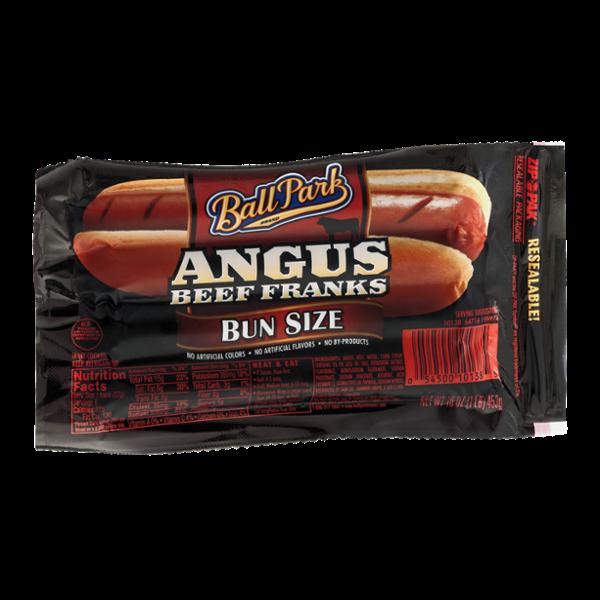 Ball Park Angus Beef Franks Bun Size
