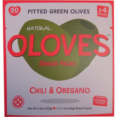 Oloves Chili & Oregano Pitted Green Olives Snack Packs, 1.1 oz, 4 count