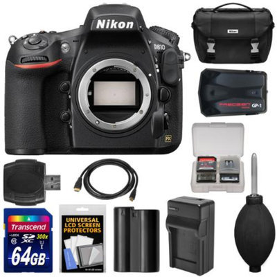 Nikon D810 Digital SLR Camera Body with 64GB Card + Battery & Charger + Case + GPS Adapter + Kit