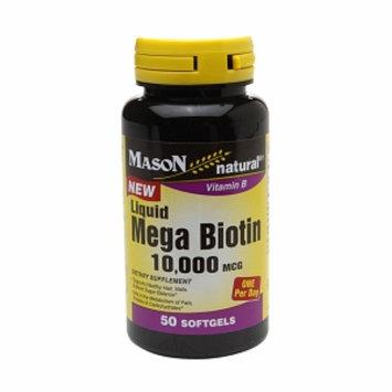 Mason Natural Liquid Mega Biotin 10,000mcg, Softgels, 50 ea