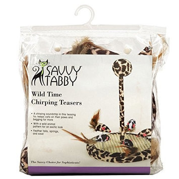 Savvy Tabby Wild Time Chirping Teaser Cat Toy Brown