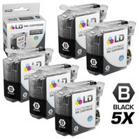 LD Brother Compatible LC107 Set of 5 Ink Cartridges: 5 of LC107BK Black for use in MFC-J4310DW, MFC-J4410DW, MFC-J4510DW, MFC-4610DW & MFC-J4710DW Printers
