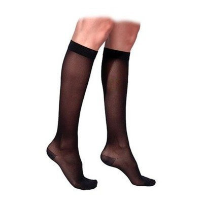 Sigvaris 770 Truly Transparent 20-30 mmHg Women's Closed Toe Knee High Sock Size: Large Long, Color: Black Mist 14