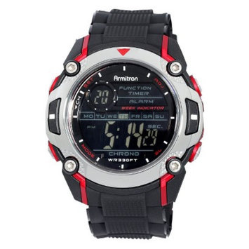 Armitron Mens Black & Red Digital Sport Watch