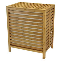 Household Essentials Bamboo Open-Slat Hamper with Removable Bag -