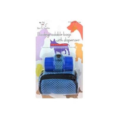 Best Pet Supplies BB-301 Soft poop bag dispenser - contains 30 biodegradable bags- Baby Blue