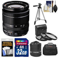 Fujifilm 18-55mm f/2.8-4.0 XF R LM OIS Zoom Lens with 32GB Card + 3 UV/CPL/ND8 Filters + Case + Tripod Kit for Fuji X-A1, X-E1, X-E2, X-M1, X-Pro1 Digital Cameras