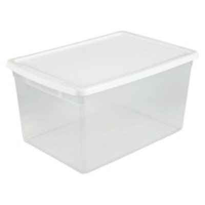 Sterilite® ClearView™ 66 Qt Storage Tote - Clear with White Lid