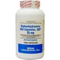 SDA Laboratories, Inc. Generic Benadryl Allergy - Diphenhydramine (25mg) - 1000 Capsules