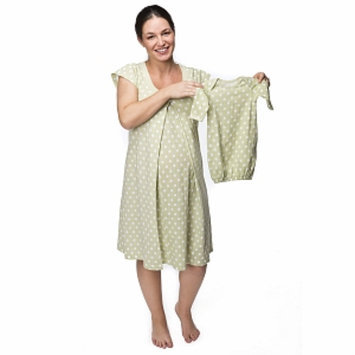 Baby Be Mine Charlotte Nursing NightGown with Romper, Green, Small, 1 ea
