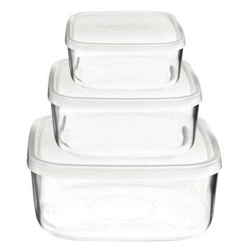 Bormioli Rocco Frigoverre 3 Piece Square Glass Food Storage Container