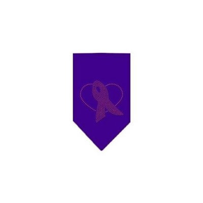 Ahi Pink Ribbon Rhinestone Bandana Purple Large