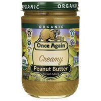 Peanut Butter Creamy No Salt Organic Once Again Nut Butters 16 oz Liquid