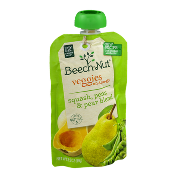 Beech-Nut® Stage 2 Squash, Peas & Pear Veggies on-the-go Pouch