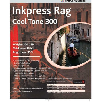 Inkpress Rag Cool Tone 300 Inkjet Paper, Double Sided, 300gsm, 23mil, 95% Bright, 8x10