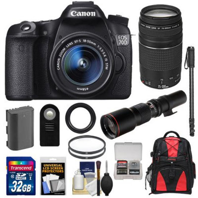 Canon EOS 70D Digital SLR Camera & EF-S 18-55mm IS STM Lens with 75-300mm & 500mm Lenses + 32GB Card + Battery + Backpack + Filters + Monopod + Accessory Kit